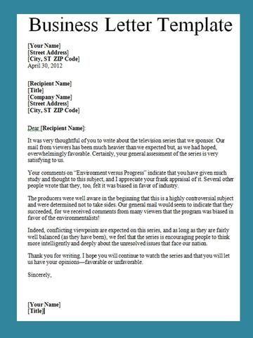 sample business letter format format of a business letter business