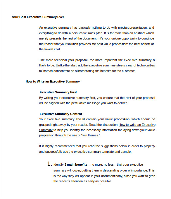 Executive Summary Proposal Example  NodeCvresumePaasproviderCom