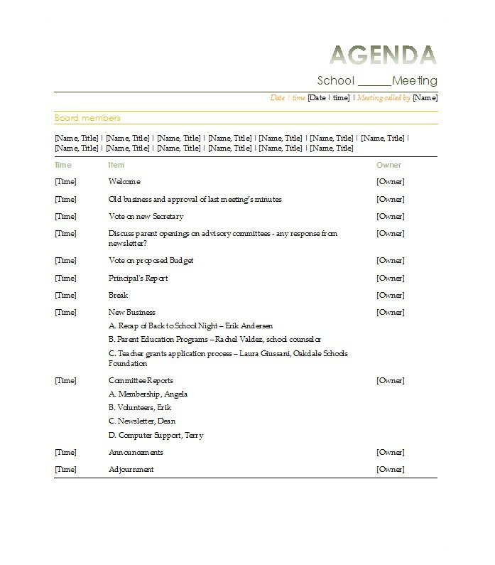 Board Meeting Agenda Template Board Agenda Templates Are Added Here