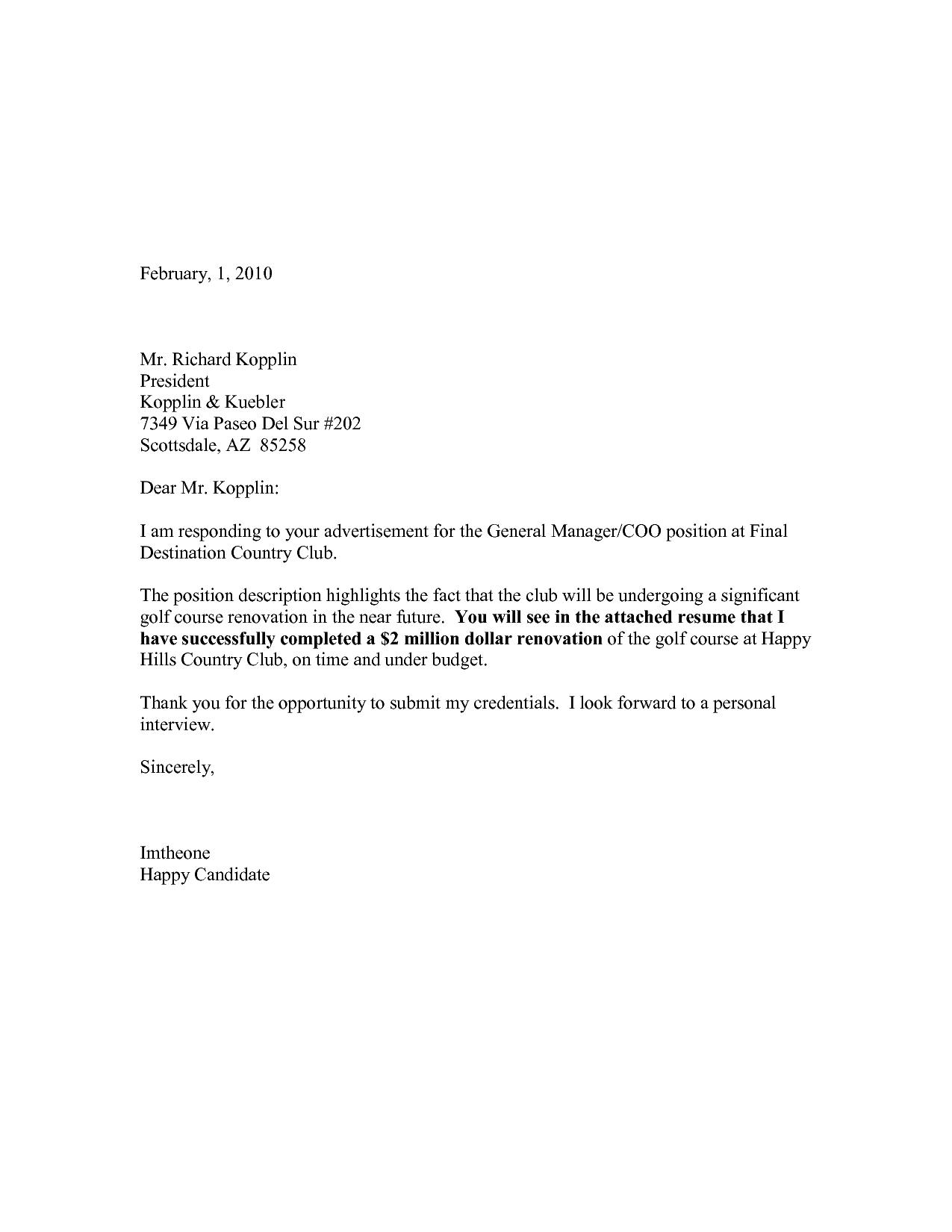 sample cover letter for resume internship