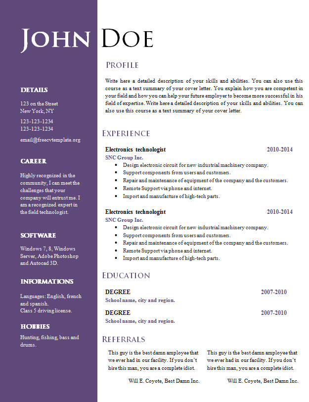 Best CV Templates Word - resume word document template