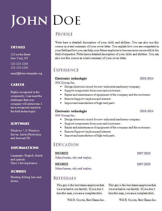 Best CV Templates Word