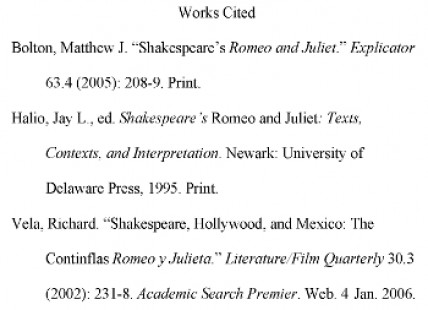 MLA Bibliography Example and Citations - Mla Work Cited Book