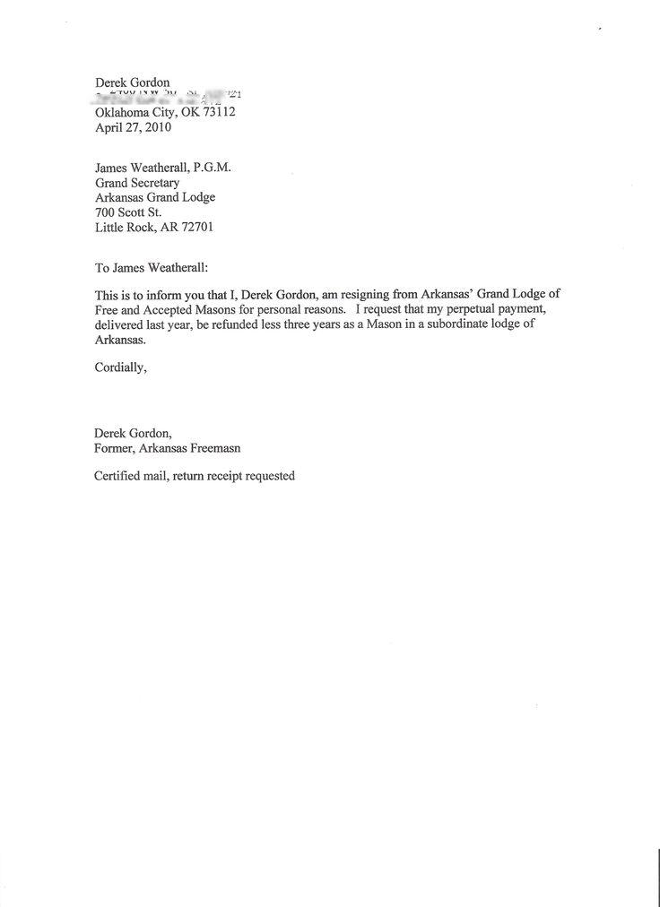 Example Of Resignation Letter - Letter Idea 2018 - sample final notice letter