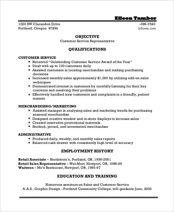 100 resume objective statement for customer service