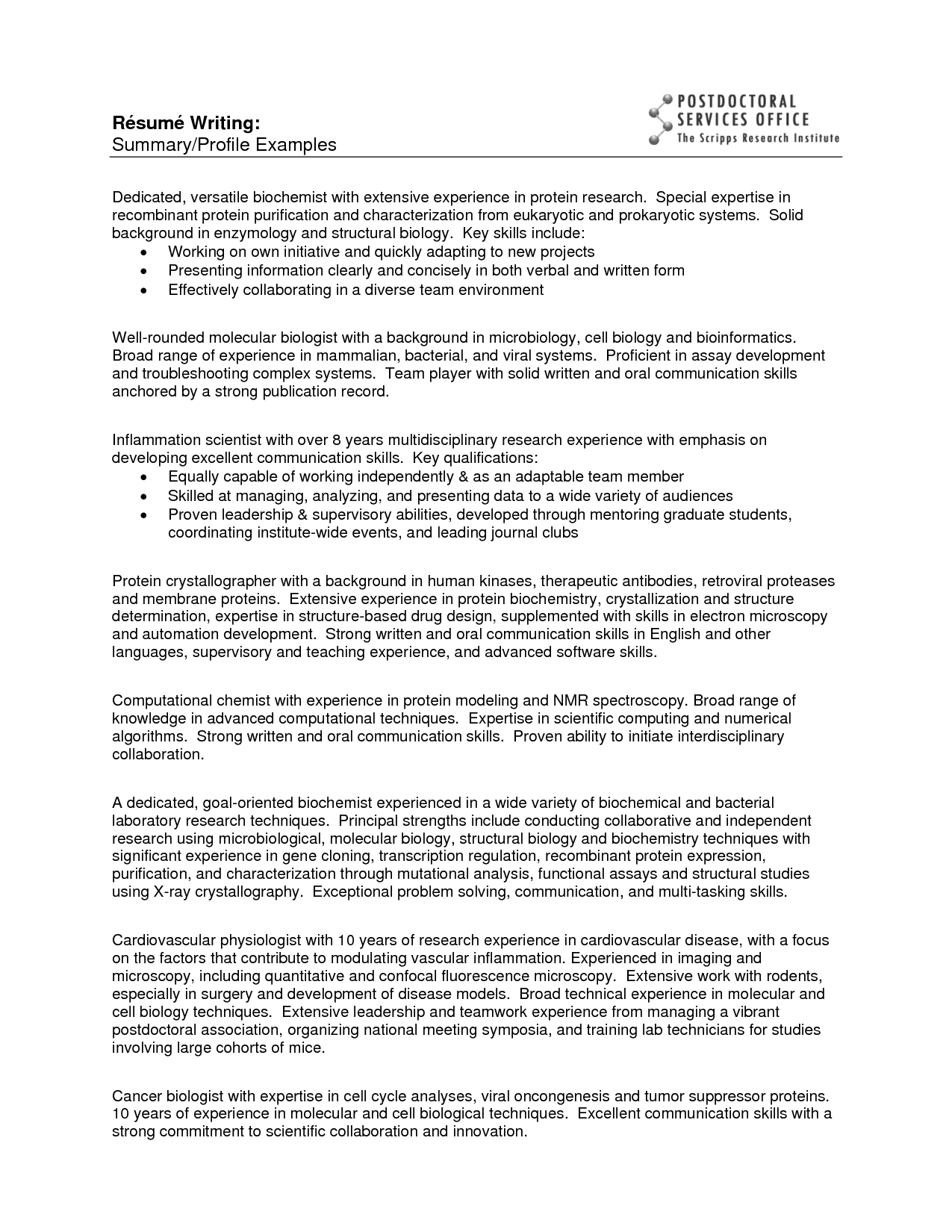 sample resumes for entry level biochemists