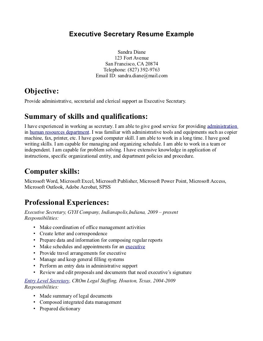 resume title examples for secretary