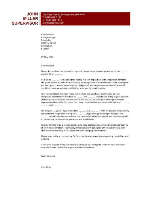 Sample Cover Letter for Applying a Job - letter of application sample