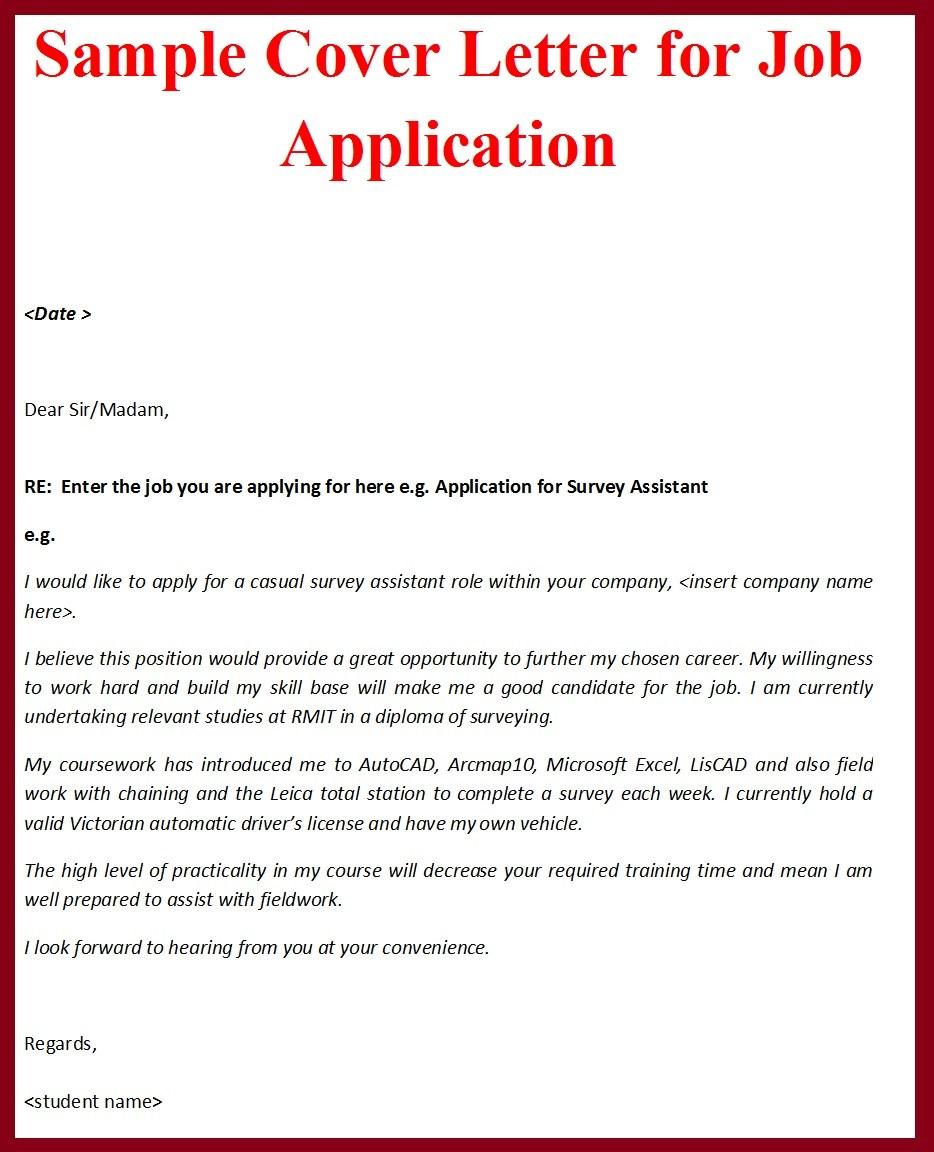 cover letter sample for job applications