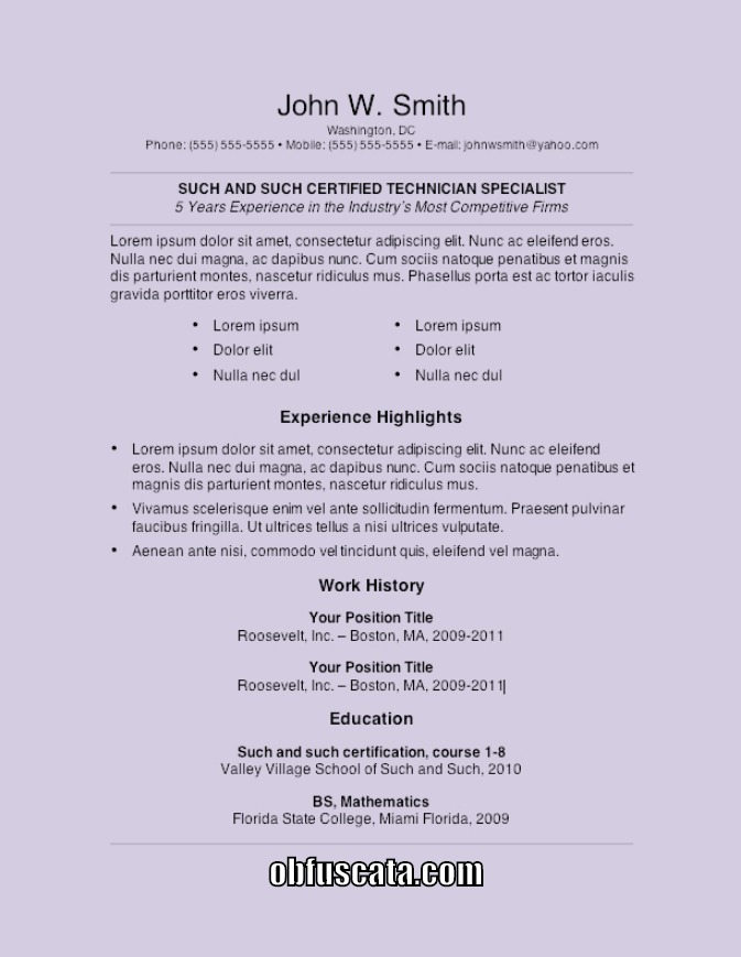 Resume Templates - great resume template