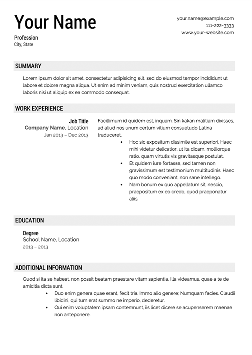 best traditional resume template