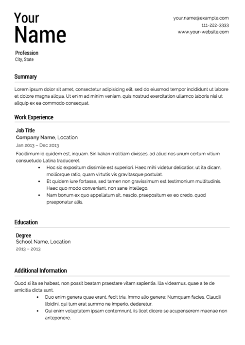 a perfect example of what a resume looks like