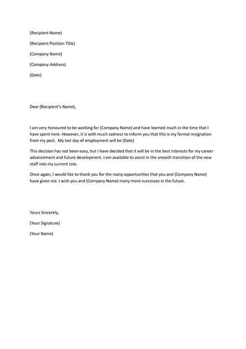 Best Resignation Letter Templates - resignation letter formats