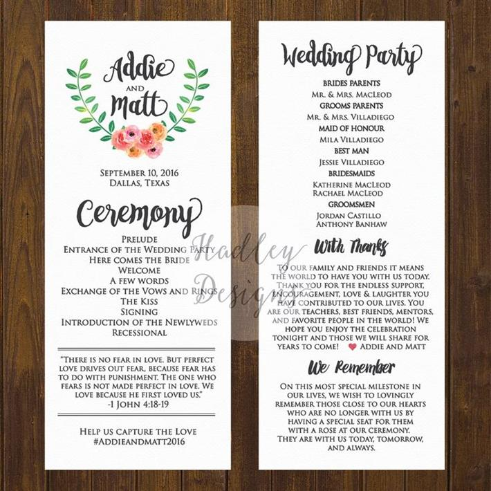 Best Wedding Program Templates