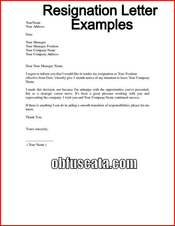 Resignation Letter Examples - example resignation letters