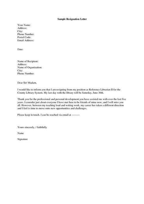 Resignation Letter Examples - example of resignation letters