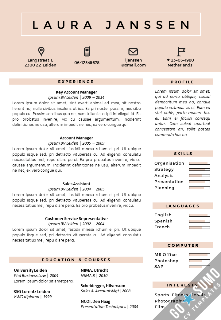 cv template uk free online