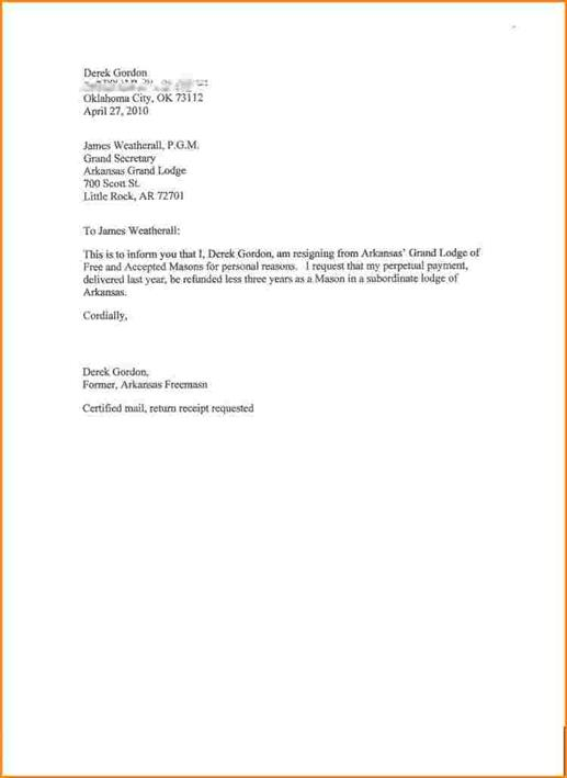 Professional Resignation Letter - resignation letter with reason