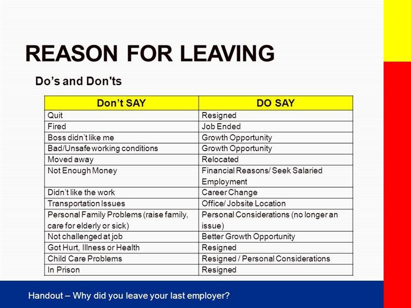 cv reasons for leaving work