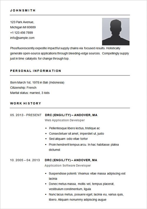 Simple Resume Template - simple of resume