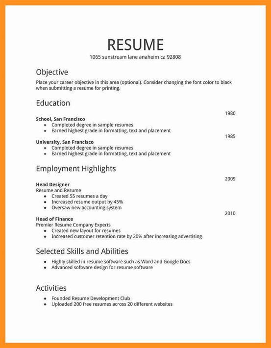Simple Resume Template - simple resumes