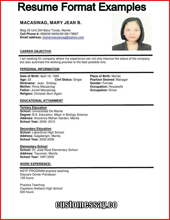 Best Resume Format Examples - Educational Resume Format