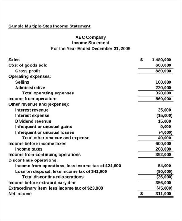 Income Statement Template - income statement template