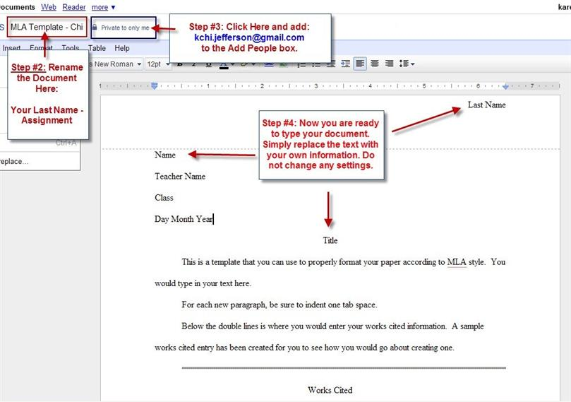 MLA Format Template