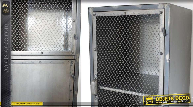 Armoire Haute En Metal De Style Indus Avec Porte Grillagee