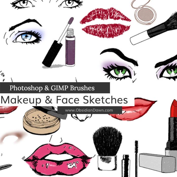 Makeup  Face Sketches Photoshop  GIMP Brushes Obsidian Dawn