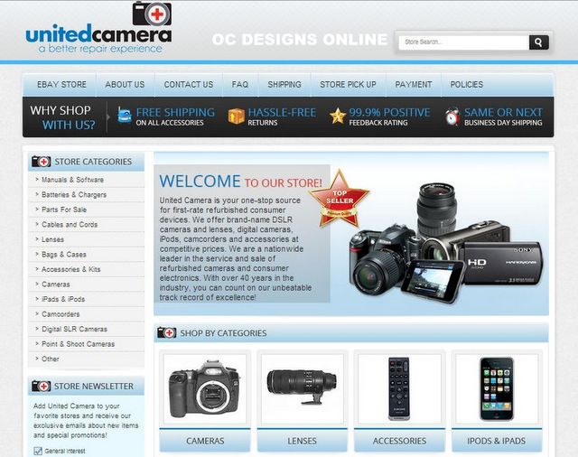 Custom eBay Store Designs for Camera and Video Retailers! - ebay store templates