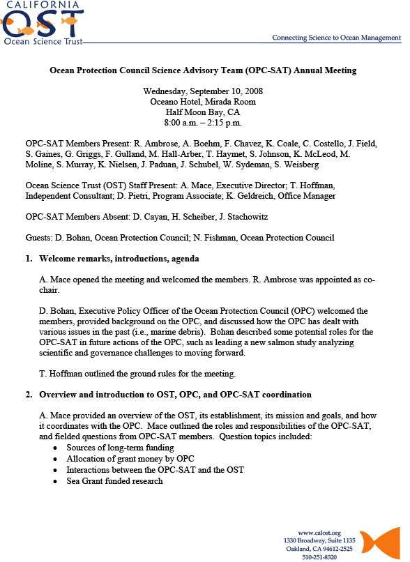 Establishing the OPC-SAT (our first meeting), meeting minutes