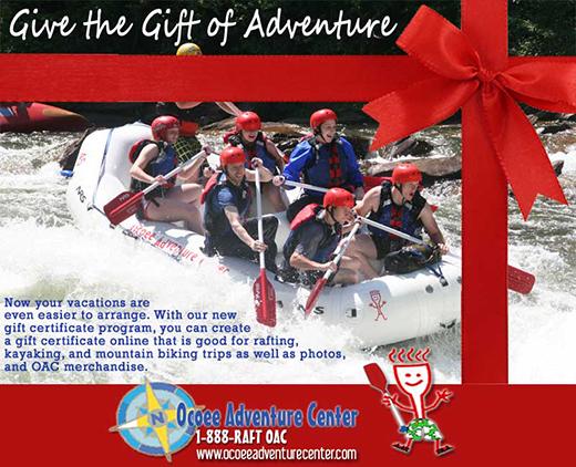 Ocoee Gift Certificates for Ocoee River Rafting  Activities