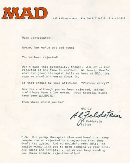 10 Funniest Rejection Letters - rejection letters - Oddee