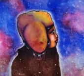 Amas stellaire, peinture cosmique