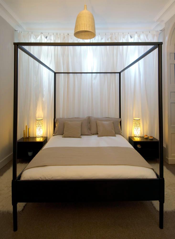 Black White Modern Wallpaper Black Canopy Bed With Steel Frame Interior Design Ideas