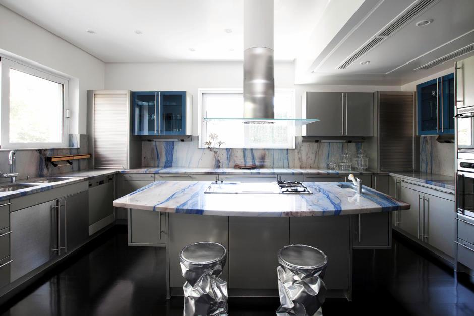 3d Glass Art Wallpaper Embellish With Kitchen Worktop Blue Marble Interior