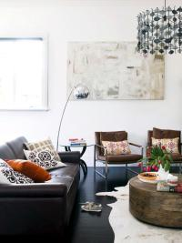 Leather furniture visual interest with pillow | Interior ...