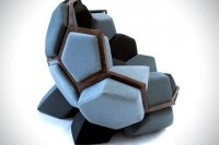 Chair design in geometric shapes resembling natural ...