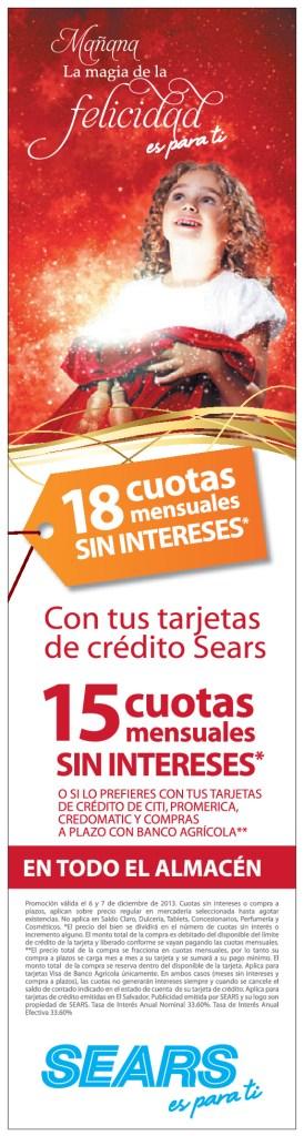 SEARS promociones de navidad cuotas sin interes - 05dic13