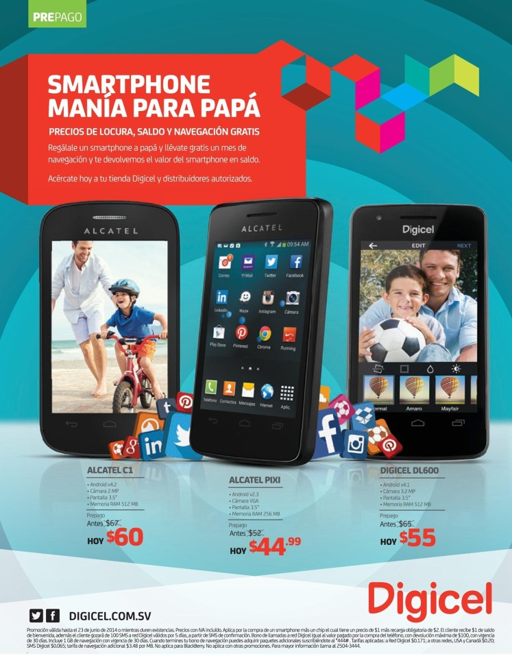 ALCATEL PIXI smartphone ofertas DIGICEL - 21jun14