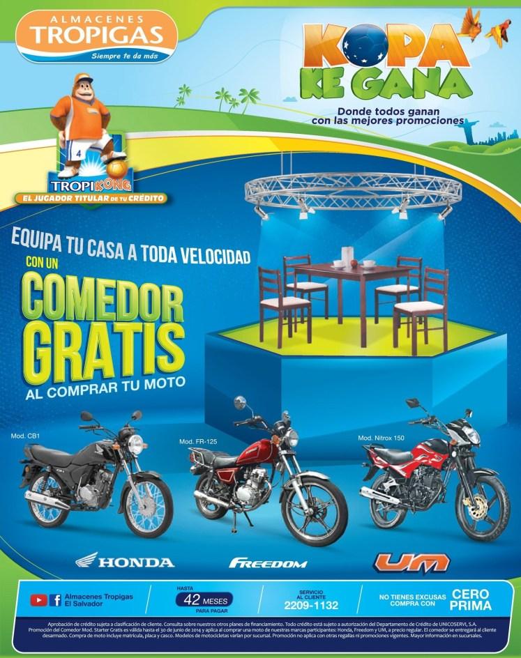 Comedor GRATIS en almacenes tropigas ofertas motos - 21jun14