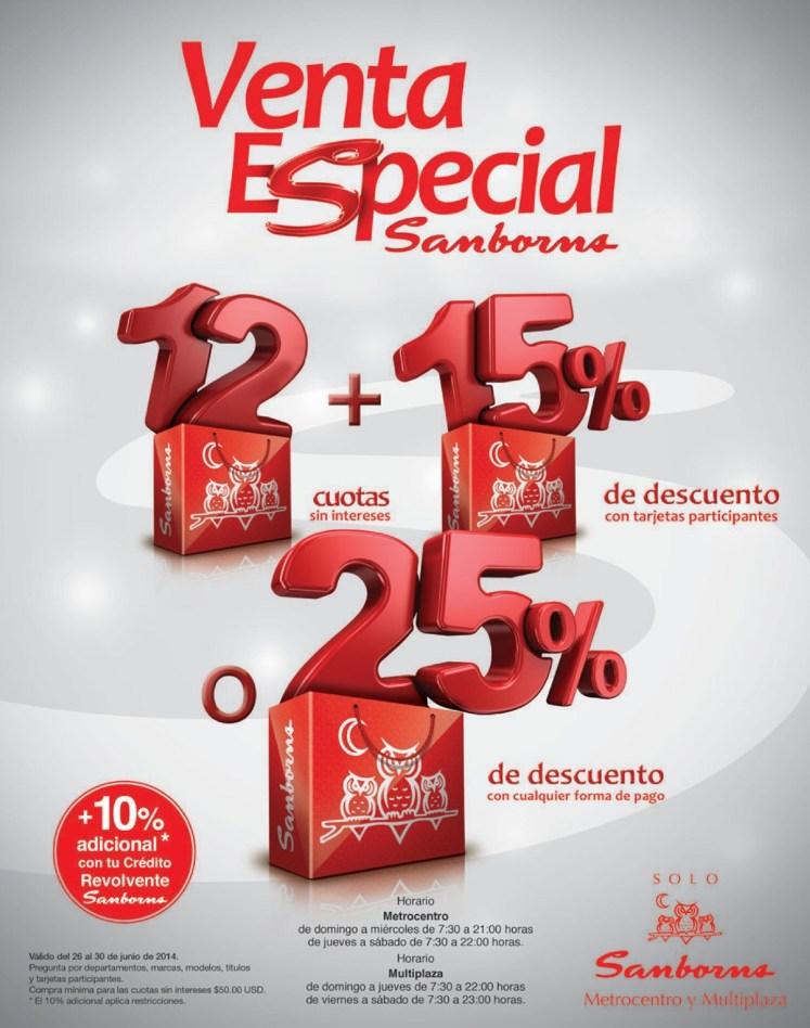 Fin de Semana SAMBORNS venta especial con descuentos - 28jun14