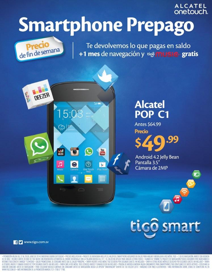 Precio de FIN DE SEMANA alcatel POP C1 android - 27jun14