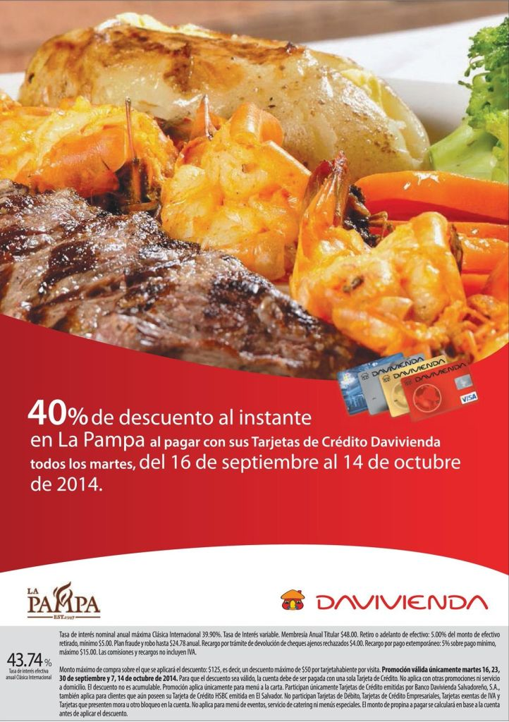 Descuento en restaurante la PAMPA gracias a davivienda - 15sep14