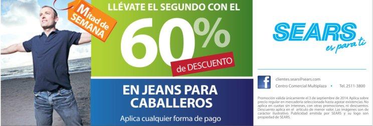 SEARS descuentos en jeans para caballeros - 03sep14