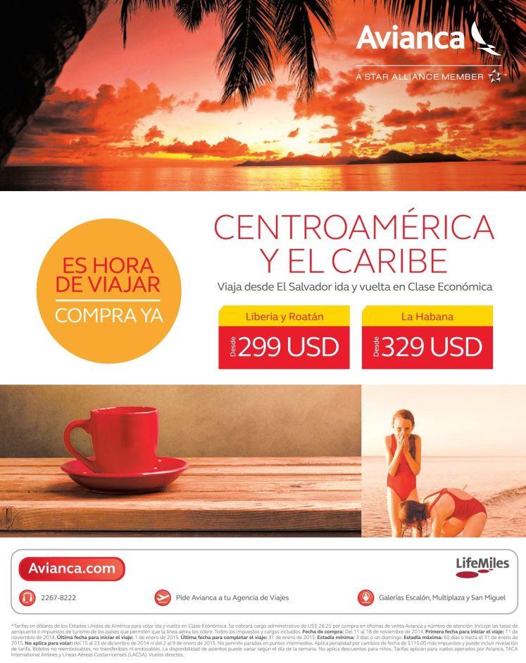 Tarifas en ofertas para viajar a CENTROAMERICA y EL CARIBE - 12nov14