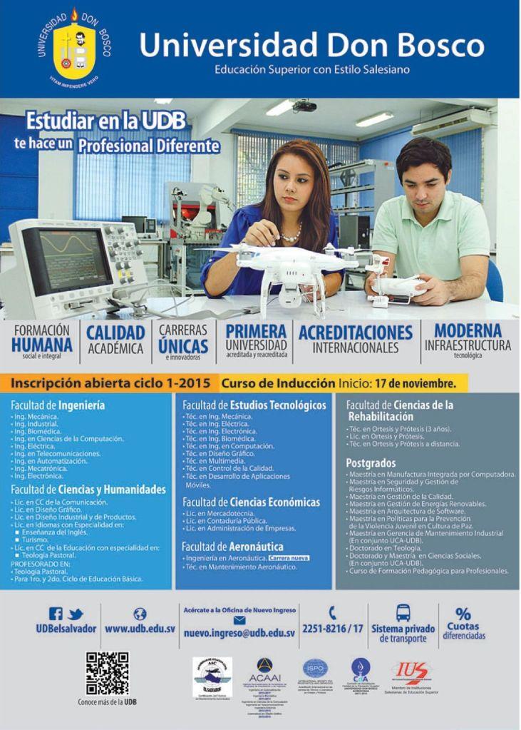 Universidad con estudio tecnicos e ingenieria el salvador - 11nov14