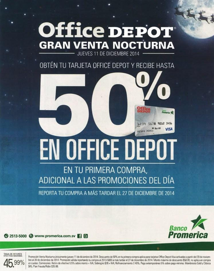 AHORA gran venta nocturna OFFICE DEPOT descuento ban promerica - 11dic14