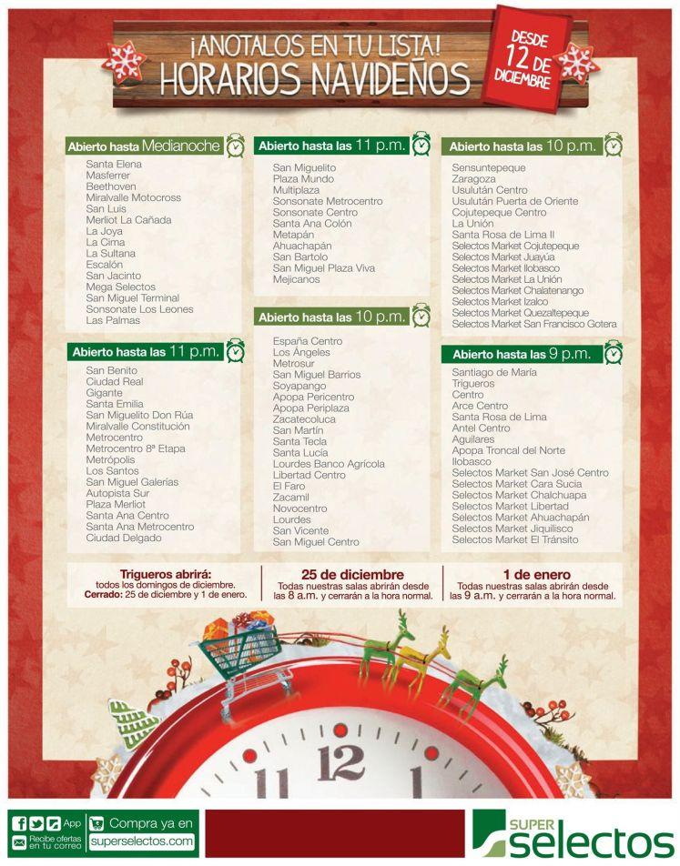 Cuales son los horarios navidad del super selectos